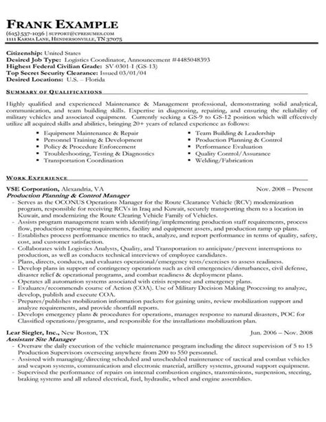 federal government resume template resume sles types of resume formats exles templates
