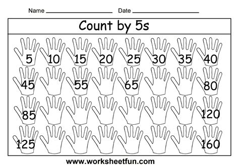 free printable math worksheets count by 5s k math