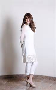 Pakistani fashion casual dresses collection in white color