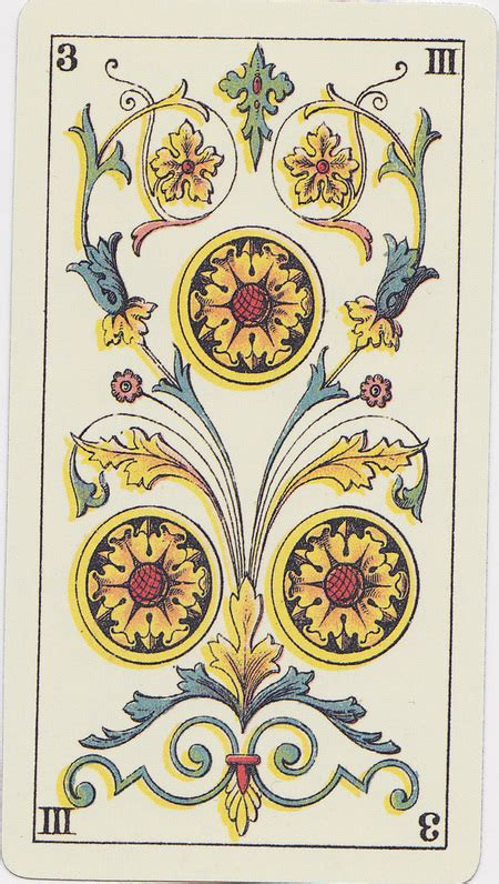 three of coins from the tarot genoves deck queen of tarot