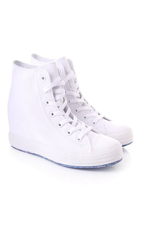 Converse High Ct White converse platform wedge hi top blueberries