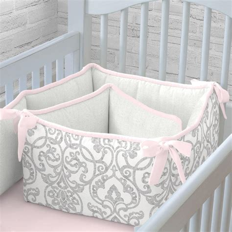 pink and gray filigree crib bumper carousel designs