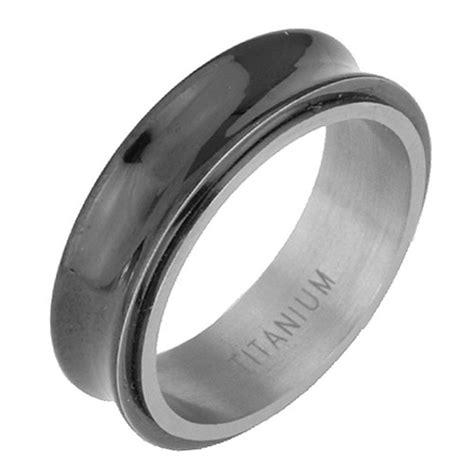 black titanium spinning mens wedding engagement ring