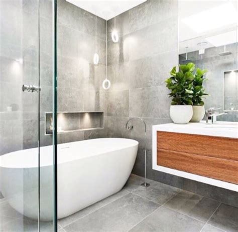 Modern Grey Bathroom by Contemporary Bathroom Grey And Timber Remodel In 2019
