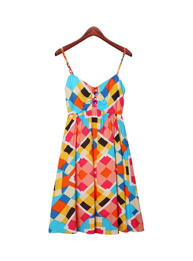 Colorful Pattern Smlxl Dress 24997 s sun dress block pattern colorful flirty