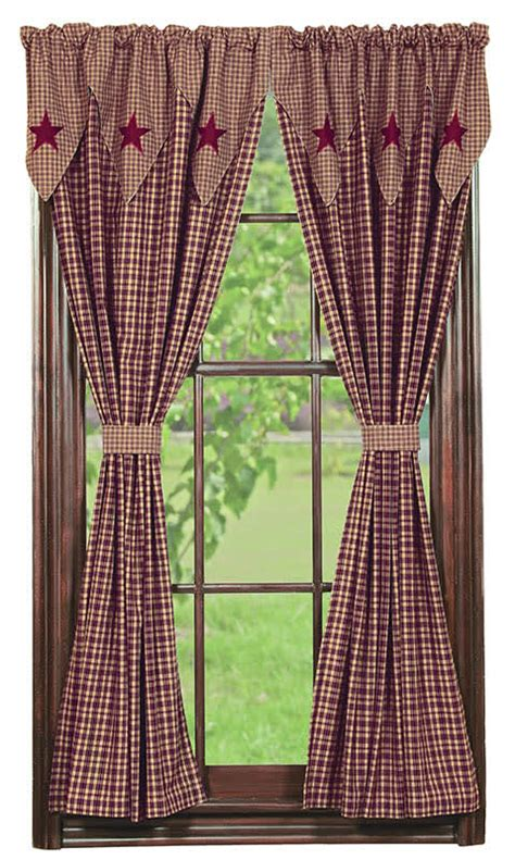 vintage country curtains vintage star wine lined tieback curtain panels