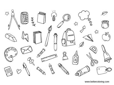 coloring supplies school supplies coloring pages icons free printable