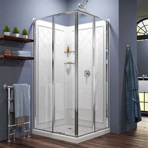 Corner Shower Door Kits Dreamline Cornerview 36 In X 36 In X 76 75 In Corner Sliding Shower Enclosure In Chrome With