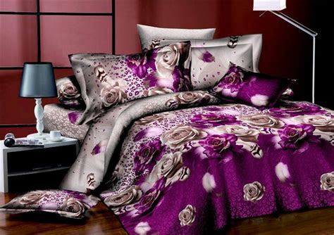 Purple Roses Bedding 3d Duvet Cover Set 3d Bedding Roses Bedding Sets