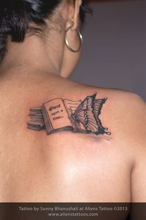 books tattoo butterfly reading book inked by at aliens