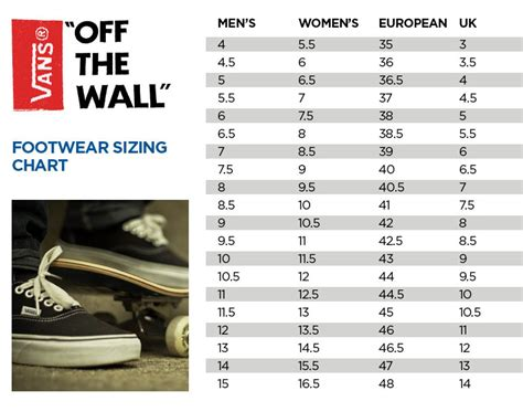 shoe size chart vans vans shoe size chart osiris shoes size conversion chart