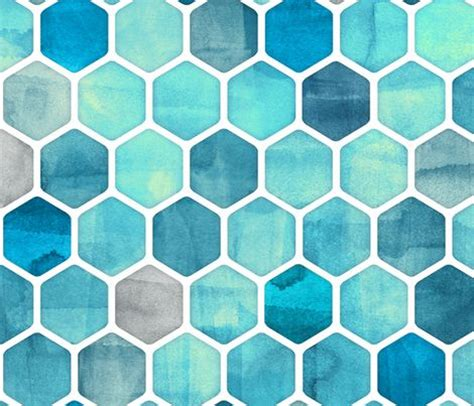 watercolor ink pattern blue ink watercolor hexagon pattern fabric by micklyn on