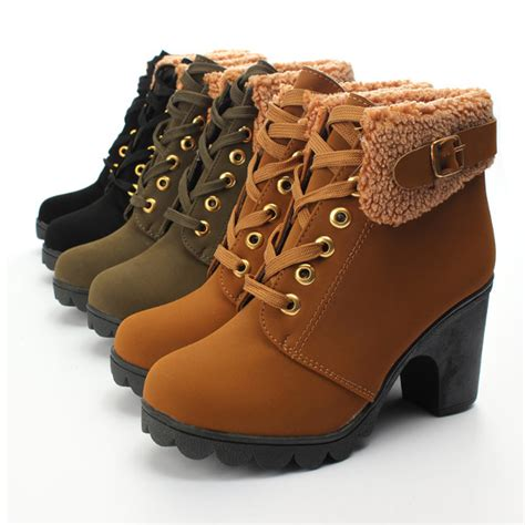 Faux Fur Lace Up Ankle Boots womens faux fur lace up ankle boots high chunky heels