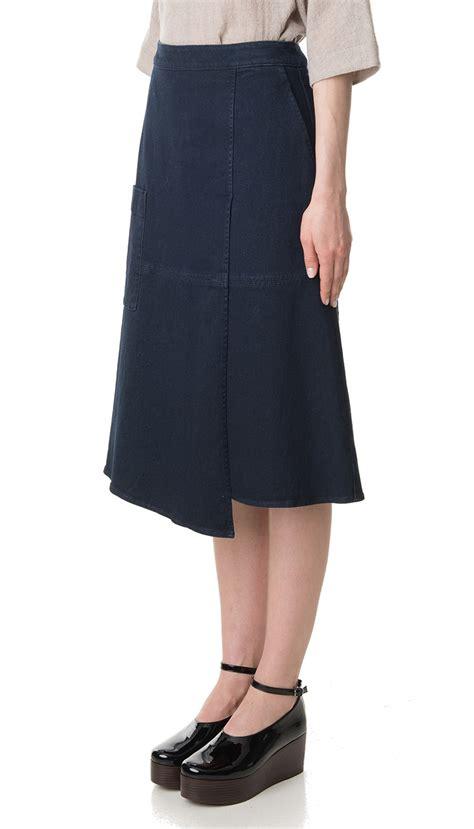 tibi denim wrap midi skirt in blue lyst