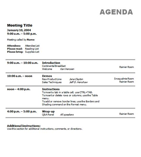 business agenda template business meeting agenda template