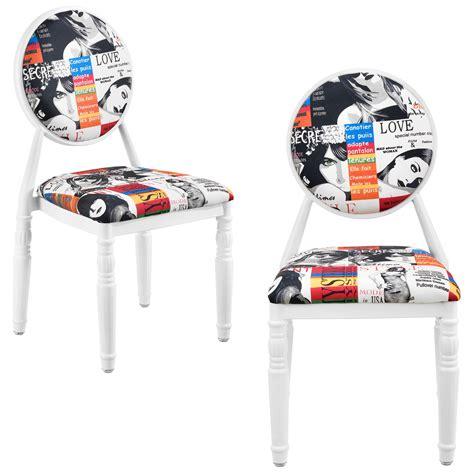 stuhl retro en casa upholstered chair set of 2 white patchwork