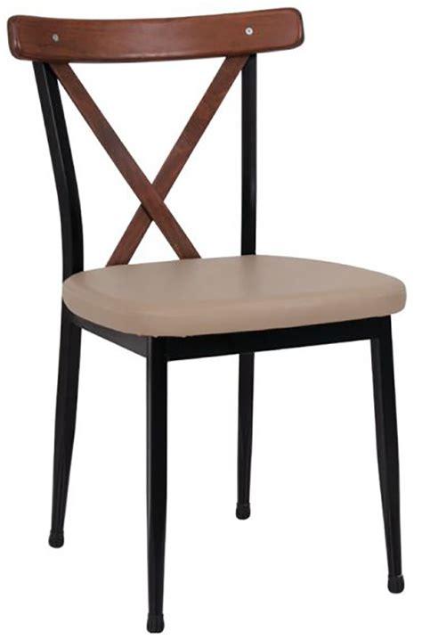 Cafe Stuhl G200 Gestell Schwarz Sitz Beige