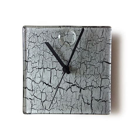 silver crackels small square wall clock