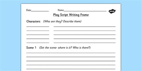 play writing template play script writing frame play play writing aid