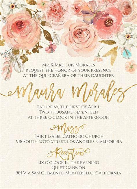 tarjeta de 15 floral chic tarjetas de 15 boho chic quincea 241 era invitation quinceanera invitation invitacion de quincea 241 era oro