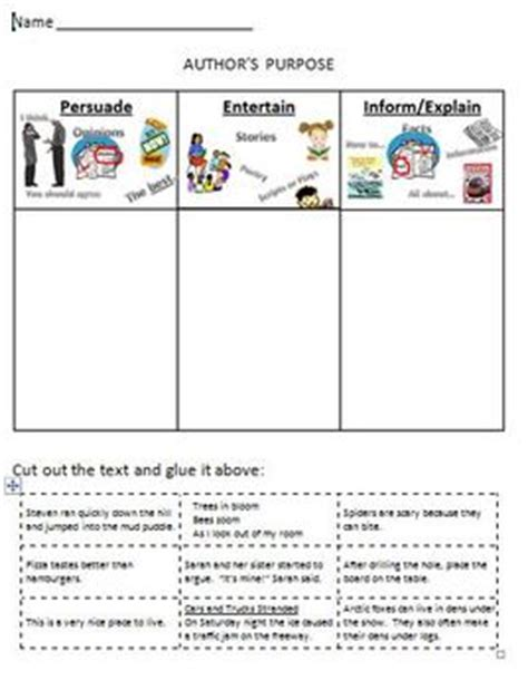 Author S Purpose Worksheet by Author S Purpose Printable Worksheet Cut And Sort By