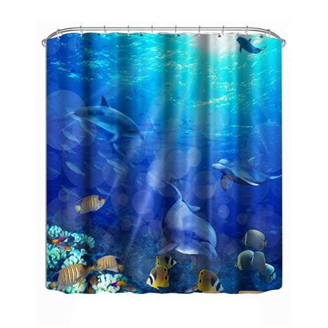 underwater shower curtain 1 8 m modern waterproof shower 3d underwater world shower
