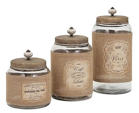 country glass jars and lids kitchen canister set of 3 w jute wrap labels ebay