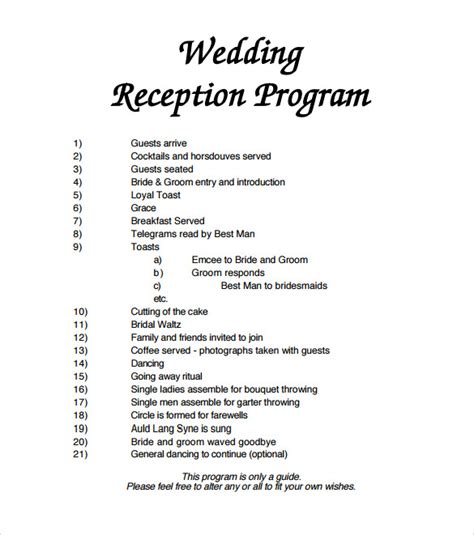 wedding reception agenda template wedding reception programs exles mini bridal