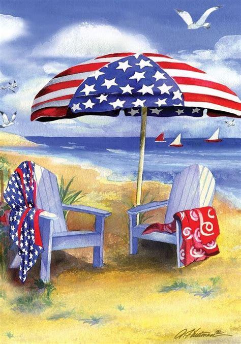 Brocade Home Decor by Fm36 Patriotic American Beach Shore Sailboats Garden Flag