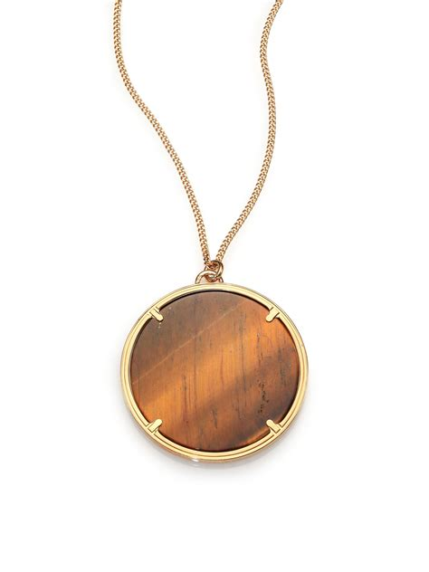 givenchy tiger s eye pendant necklace in metallic lyst