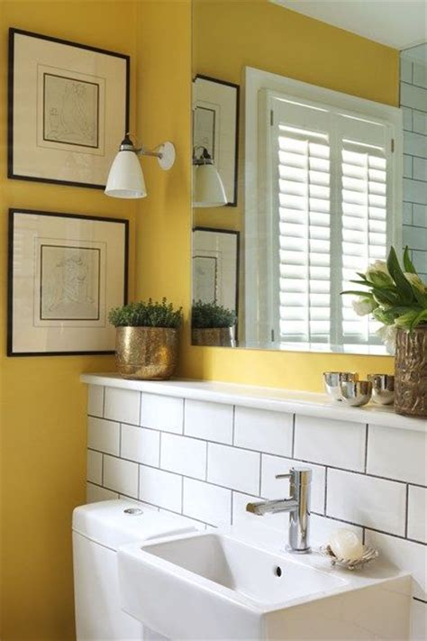 Bright Yellow Bathroom Industrial Tile Small Bathrooms And Bright Yellow On Pinterest