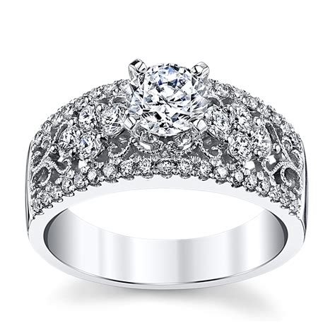 14k white gold diamond engagement ring setting 3 4 cttw