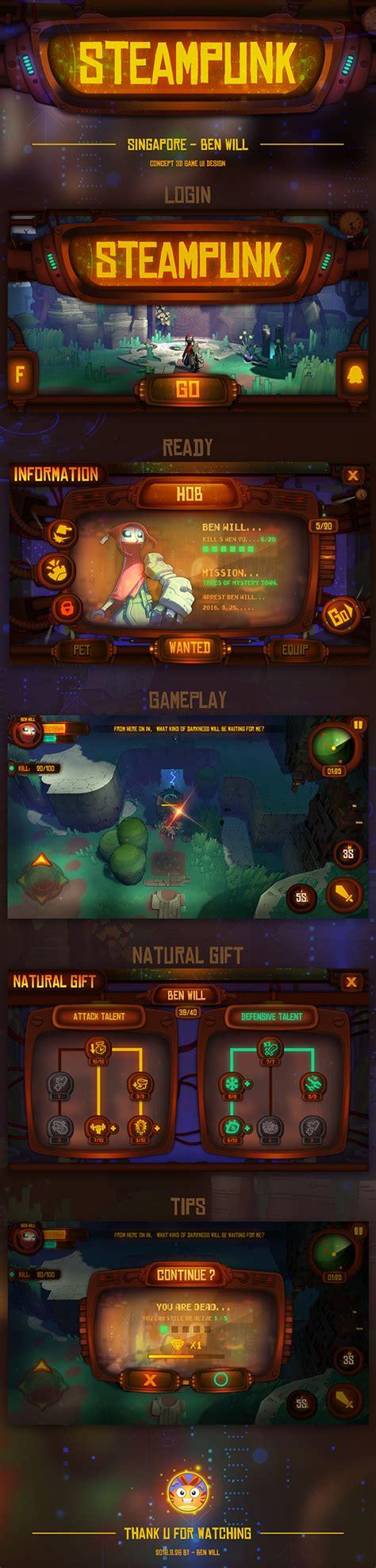 game concept design jobs concept game ui design hob steampunk on behance