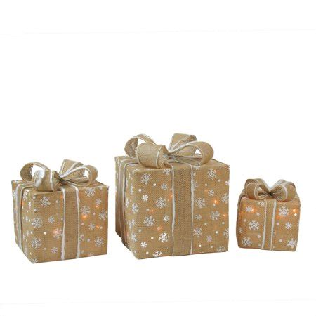 set of 3 lit gift boxes set of 3 lighted snowflake burlap gift boxes yard decorations walmart