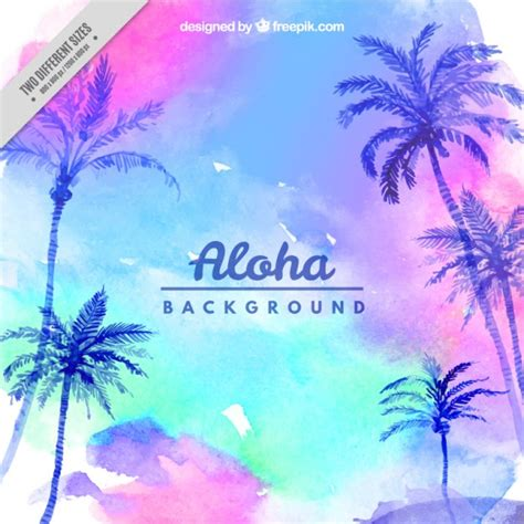 watercolor background with sky and palm trees vector
