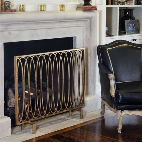 Antique Gold Fireplace Screen by Antique Gold Oval Loop Screen Livluxe Designs