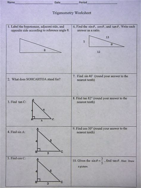 Trigonometric Ratios Worksheet Answers by Geometry Posts Mrs Holt