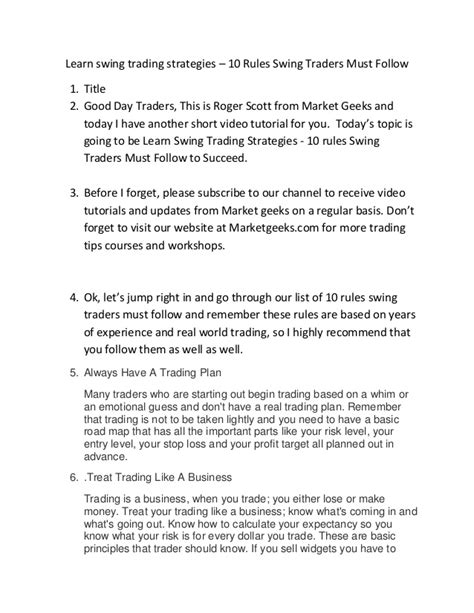swing trading rules top ten swing trading rules to follow video transcript