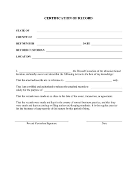 letter of certification for records printable certification of record pleading template