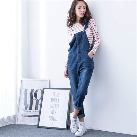 Highwaist Ripped 8262 Celana plus size overall high waist baggy korean fashion denim coverall on