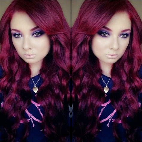 black hair to raspberry hair reddish burgundy dark red purple long hair raspberry
