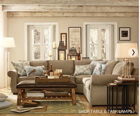 pottery barn living room decorating
