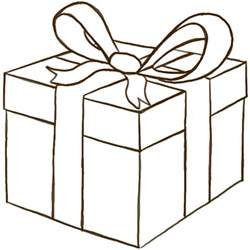 how to draw a wrapped gift or present with ribbon and bow