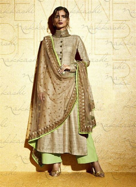 designer pics beige and pista embroidered designer suit