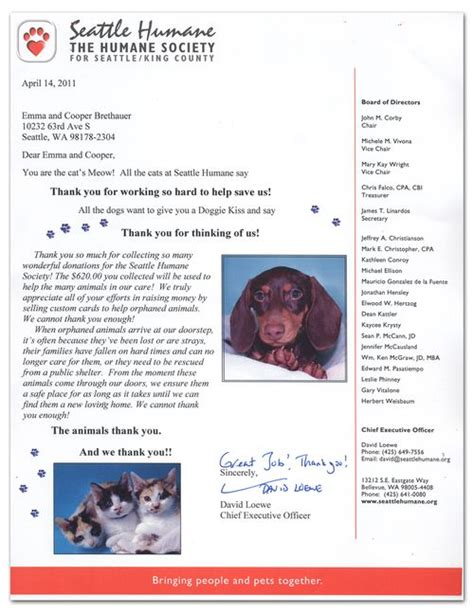 Thank You Letter For Donation To Animal Shelter I The Seattle Humane Society Poppysts