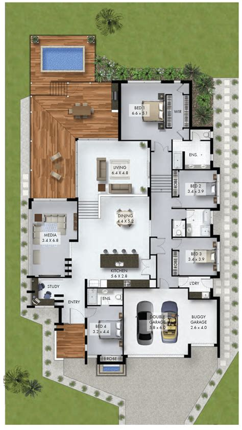 design home floor plan 4 bedroom home with study nook and car garage