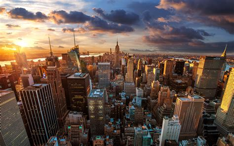 landscape cityscape building sunset usa new york city