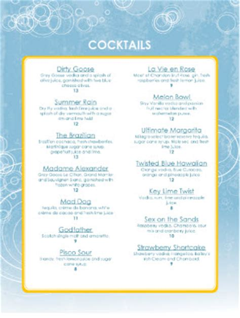 cocktail menu ideas for 10 design of the week cocktail menu 5 happy hour marketing