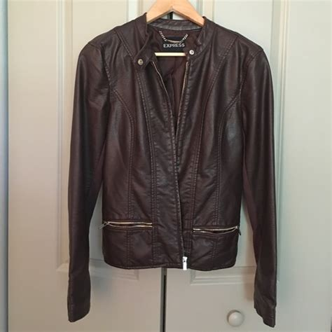 Expres Jacket Brown express brown leather jacket with stretchy sleeves from