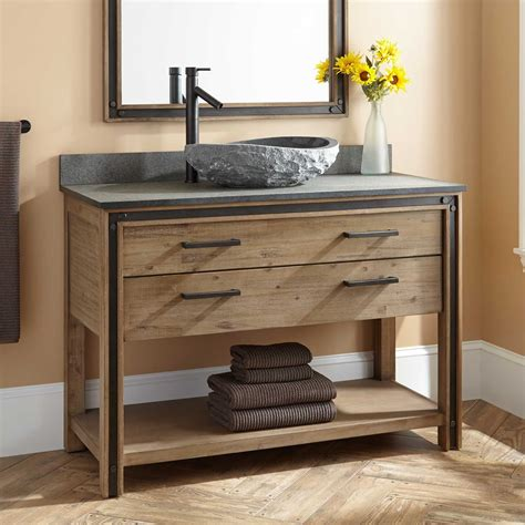 48 Quot Celebration Vessel Sink Vanity Rustic Acacia Bathrooms Vanity Cabinets